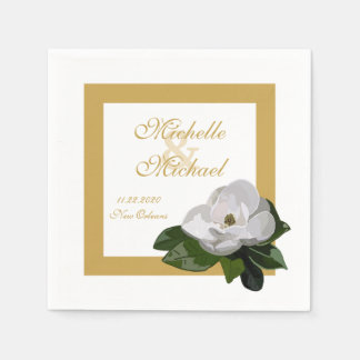 Magnolia Flower Wedding Event Paper Serviettes