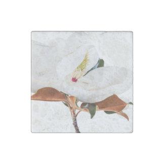 Magnolia Flower White Magnolias Floral Blossom Stone Magnet