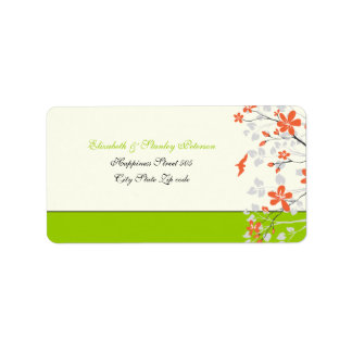 Magnolia flowers orange lime green wedding label address label