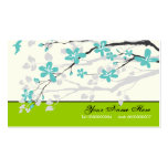 Magnolia flowers turquoise green floral business cards