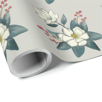 Magnolia flowers, vintage painted floral wrapping paper