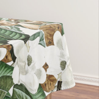 Magnolia Flowers White & Gold Floral Tablecloth