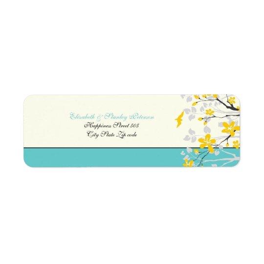 Magnolia flowers yellow turquoise wedding label
