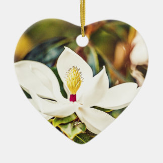 Magnolia in Bloom Ceramic Heart Decoration