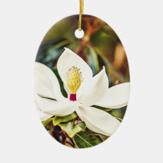 Magnolia in Bloom Ceramic Oval Decoration