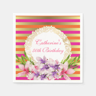 Magnolia on Pink & Faux Gold Stripes Birthday Disposable Napkin