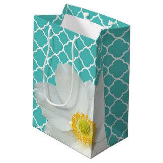 Magnolia & Quatrefoil Pattern Medium Gift Bag