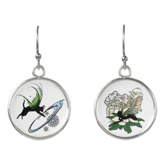 Magnolia Shadow Fairy and Cosmic Kitty Earrings