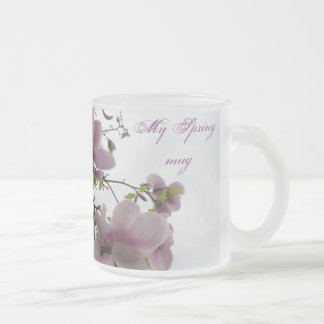 Magnolia tree frosted glass coffee mug