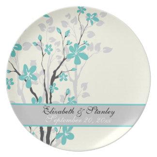 Magnolia turquoise flowers wedding keepsake plate