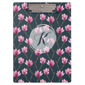 Magnolia Watercolor Floral Pattern Clipboard
