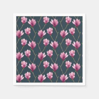Magnolia Watercolor Floral Pattern Disposable Serviettes