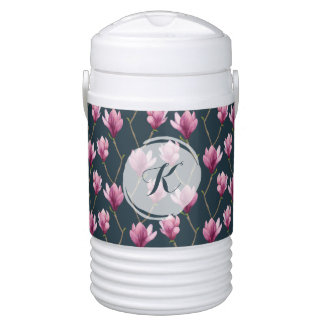 Magnolia Watercolor Floral Pattern Drinks Cooler
