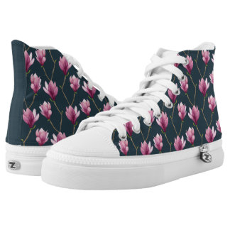 Magnolia Watercolor Floral Pattern High Tops