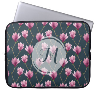 Magnolia Watercolor Floral Pattern Laptop Sleeve