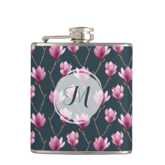 Magnolia Watercolor Floral Pattern | Monogram Hip Flask