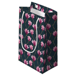 Magnolia Watercolor Floral Pattern Small Gift Bag