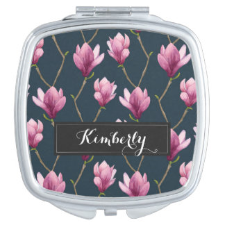 Magnolia Watercolor Floral Pattern Travel Mirrors
