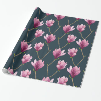 Magnolia Watercolor Floral Pattern Wrapping Paper