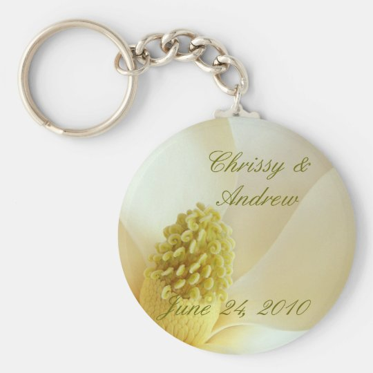 MAGNOLIA Wedding Coordinate Wedding Favour Basic Round Button Key Ring