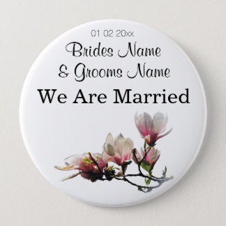 Magnolia Wedding Souvenirs Keepsakes Giveaways 10 Cm Round Badge