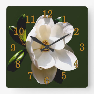 Magnolia with Gold Numerals Square Wall Clock