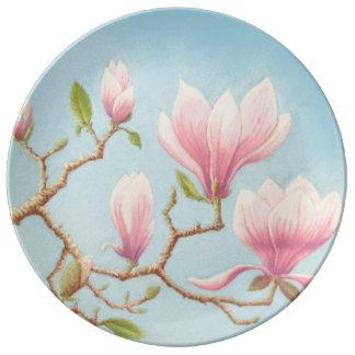 Magnolias in Bloom, Wisley Gardens Porcelain Plate