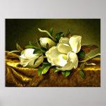 Magnolias on Gold Velvet Cloth, fine art painting Poster