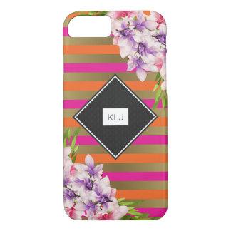Magnolias on Pink & Faux Gold Stripes Monogram iPhone 8/7 Case