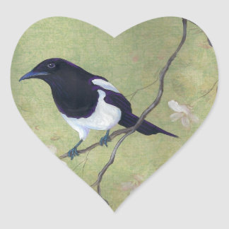 Magpie and Dogwood heart stickers