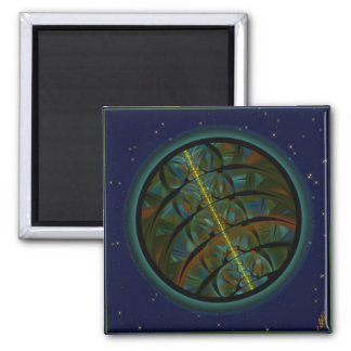 Magpie Crow Moon Square Magnet