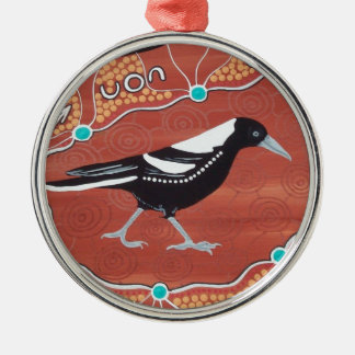 Magpie Dreaming Metal Ornament