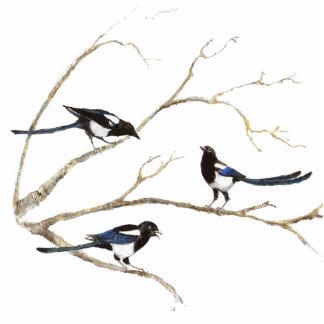 Magpie Family  Bird, Wildlife, Nature, Ornament Standing Photo Sculpture