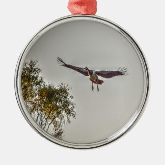 MAGPIE GOOSE AUSTRALIA ART EFFECTS Silver-Colored ROUND DECORATION