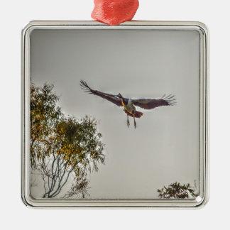 MAGPIE GOOSE AUSTRALIA ART EFFECTS Silver-Colored SQUARE DECORATION