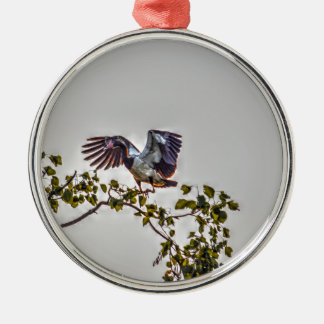 MAGPIE GOOSE IN FLIGHT AUSTRALIA ART EFFECTS Silver-Colored ROUND DECORATION