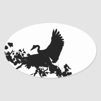 MAGPIE GOOSE IN FLIGHT SILHOUETTE AUSTRALIA OVAL STICKER