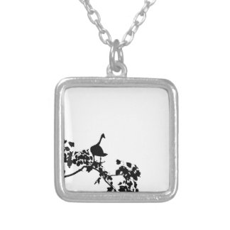 MAGPIE GOOSE IN TREE SILHOUETTE AUSTRALIA SILVER PLATED NECKLACE