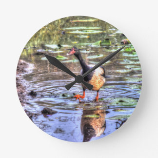 MAGPIE GOOSE RURAL AUSTRALIA WITH ART EFFECTS WALLCLOCK