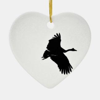 MAGPIE GOOSE SILHOUETTE QUEENSLAND AUSTRALIA CERAMIC HEART DECORATION
