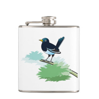 Magpie On A Branch Hip Flask