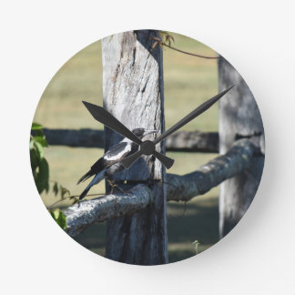 MAGPIE ON A FENCE RURAL QUEENSLAND AUSTRALIA WALL CLOCKS
