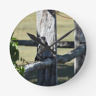 MAGPIE ON FENCE IN RURAL QUEENSLAND AUSTRALIA WALL CLOCK