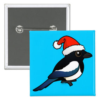 Magpie Santa Pinback Buttons