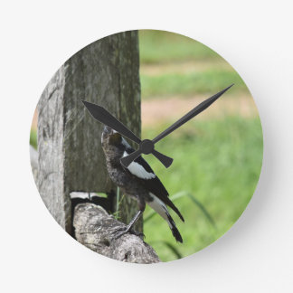MAGPIE SITTING ON A FENCE RURAL AUSTRALIA WALL CLOCKS