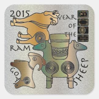 Mah Jongg 2015 Year of the Sheep Ram Goat Square Sticker