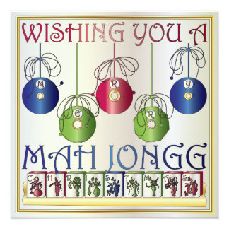 Mah Jongg Christmas Bettors Invitation/Card 13 Cm X 13 Cm Square Invitation Card