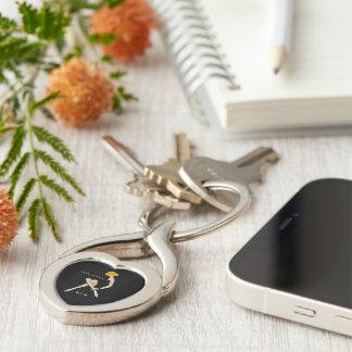 Mah Jongg Diva Key Chain Silver-Colored Twisted Heart Key Ring