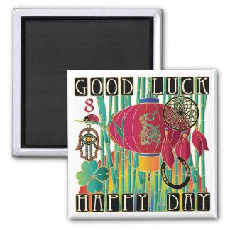 Mah Jongg Good Luck Happy Day Square Magnet
