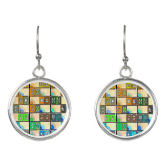 Mah Jongg Green-Orange Tiles Earrings